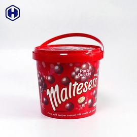 Food Safe IML Bucket 1340ml Colorful  Chocolate Biscuits Packing
