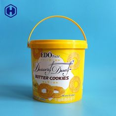 Thin Wall Round Plastic Cookie Containers 84OZ 400G With Single Handle